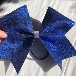 🌎dark blue sparkly cheer bow🌎